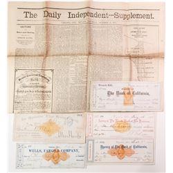 Five Different Nevada Revenue Checks incl. Fair & Mackay Autographs