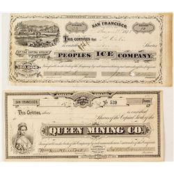 Two GT Brown Stock Certificates: Queen Mining Co. & Peoples Ice Co.