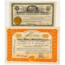 Two Wonder, Nevada Mining Stock Certificates incl. Monnette Signature