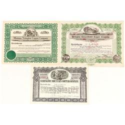 Three Yerington, Nevada Mining Stock Certificates