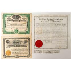 """Washoe"" Mining Stock Certificates"