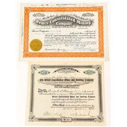 Bristol & Castleton, Nevada Mining Stock Certificates