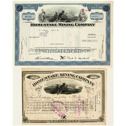 Homestake Mining Company Stock Certificate Pair