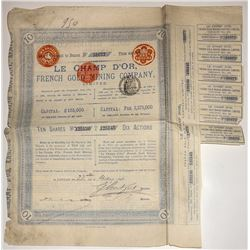 Le Champ D'Or, French gold Mining Company Stock Certificate