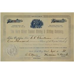The Horn Silver Tunnel Mining & Milling Company Stock Certificate