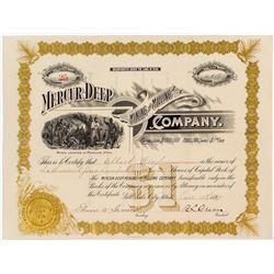 Mercur Deep Mining & Milling Company Stock Certificate
