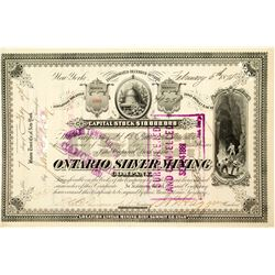 Ontario Silver Mining Co. Stock Certificate Signed by J.B. Haggin (George Hearst Partner)