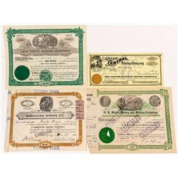 Four Other Tintic, Utah Mining Stock Certificates