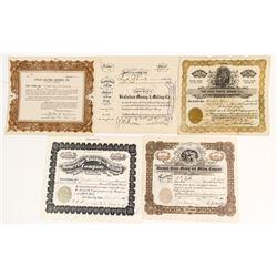 Five Different Utah Mining Stock Certificates