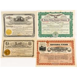 Four Different Utah Mining Stock Certificates