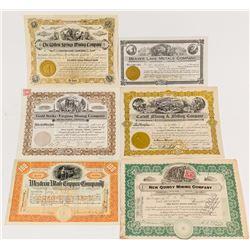 Six Different Pictorial Utah Mining Stock Certificates