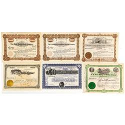 Six Different Utah Mining Stock Certificates