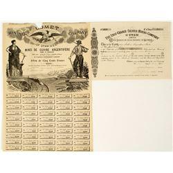 Two 19th Century Utah Mining Stock Certificates
