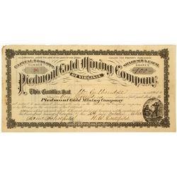 Piedmont Gold Mining Company of Virginia Stock Certificate