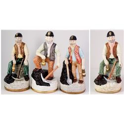 Four Ceramic Art Statuettes of Coal Miners