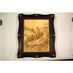 Mining Watercolor by Harley in Beautiful Gold Nugget Frame