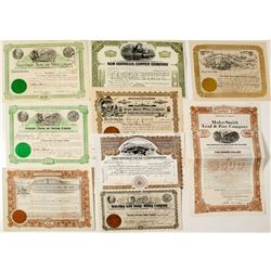 Nine Different Pictorial US Mining Stock Certificates