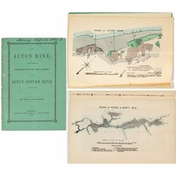 """1862 """"Contributions to the History of The Acton Copper Mine"""" (Thomas Macfarlane) w/ color cross-sect"""