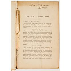 1862 Report for the Acton Copper Mine (C.T. Jackson's Personal Copy)
