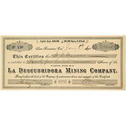 La Descubridora Mining Company Stock Certificate (Mexico Silver)