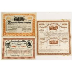 Three Different Mexican Mining Stock Certificates