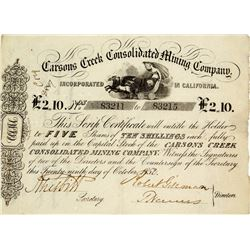 Gold Rush Stock Certificate: Carsons Creek Consolidated Mining Company