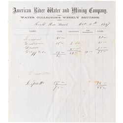 """American River Water and Mining Company - Beals Bar Branch form  """"Water Collector's Weekly Returns"""""""