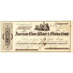 American River Water & Mining Co. Stock Certificate, Carrollton (Gold Rush)