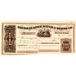 American River Water & Mining Co. Stock Certificate, Doton's Bar (Gold Rush)