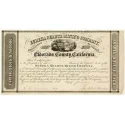 Gold Rush Stock Certificate: Eureka Quartz Mining Company