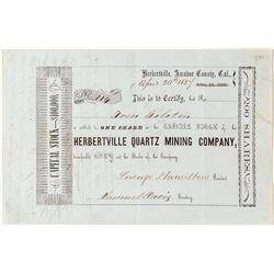 Herbertville Quartz Mining Company Stock Certificate