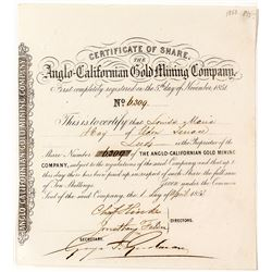 Gold Rush Stock Certificate: Anglo-Californian Gold Mining Company