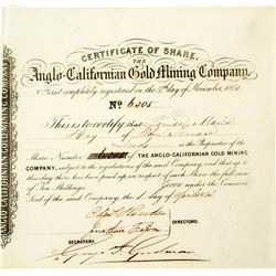 Gold Rush Stock Certificate: Anglo-Californian Gold Mining Company 2