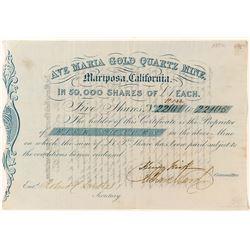 Ave Maria Gold Quartz Mine Stock Certificate (Gold Rush Era)