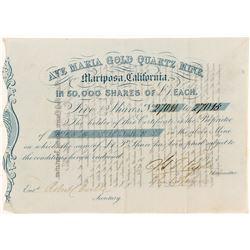 Gold Rush Stock Certificate: Ave Maria Gold Quartz Mine 2