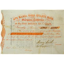 Gold Rush Stock Certificate: Ave Maria Gold Quartz Mine 3