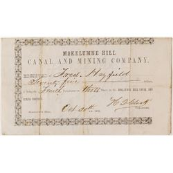 Very Early Mokelumne Hill Canal & Mining Company Stock Certificate