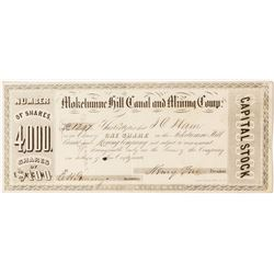 Mokelumne Hill Canal and Mining Company Stock Certificate