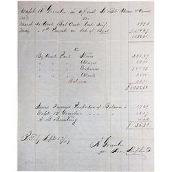 Account Sheet of Captain R. Greenlee (Gold Rush Era)