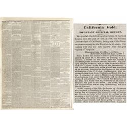 December 4, 1848 New York Times with three columns about the new gold discovery in California
