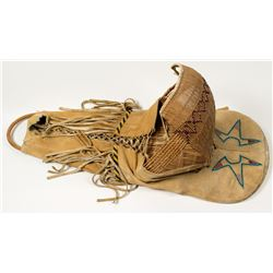 Beaded, Buckskin-covered Willow Cradleboard