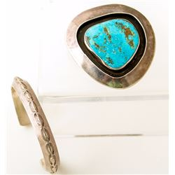 Shadow-box Turquoise Pin/Pendant and Navajo Sterling Carinate Stamped Bracelet
