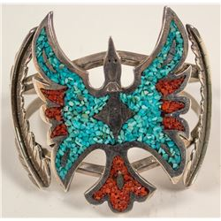 Silver, Turquoise, and Coral Waterbird Cuff