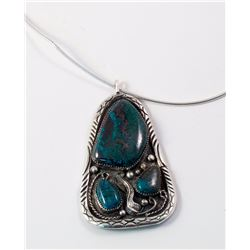 Navajo Turquoise and Silver Pendant Necklace