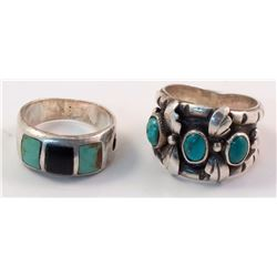Two Rings with Turquoise & Onyx Stones