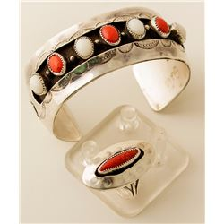 Coral and Moonstone Silver Cuff, Coral Ring