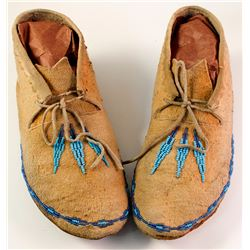 Old Beaded Moccasins, Leather Soles