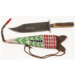 Plains Indian Knife and Beaded Sheath