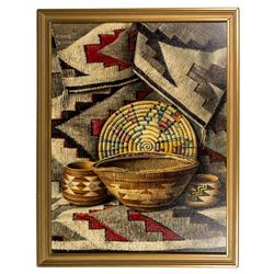 Rare Frederick John Behre Painting of Navajo Baskets & Weaving