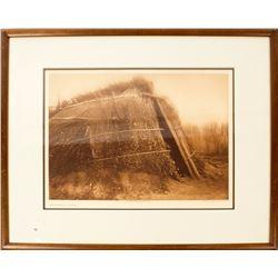 Photogravure of Chemehuevi House; Brush Lodge - Cheyenne; Osage Summer Arbor; Ground Plan of Arikara